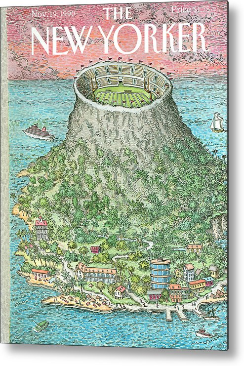 (a Resort Island Has The Dome Of Its Volcano Converted Into A Football Stadium.) Metal Print featuring the painting New Yorker November 19th, 1990 by John O'Brien