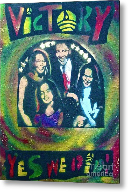 Barack Obama Metal Print featuring the painting Obama Family Victory by Tony B Conscious