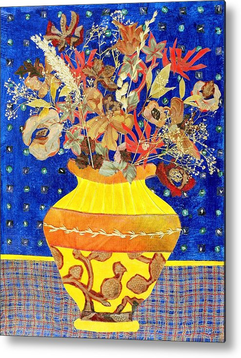 Flowers In A Vase Metal Print featuring the mixed media Ode To A Grecian Urn by Diane Fine
