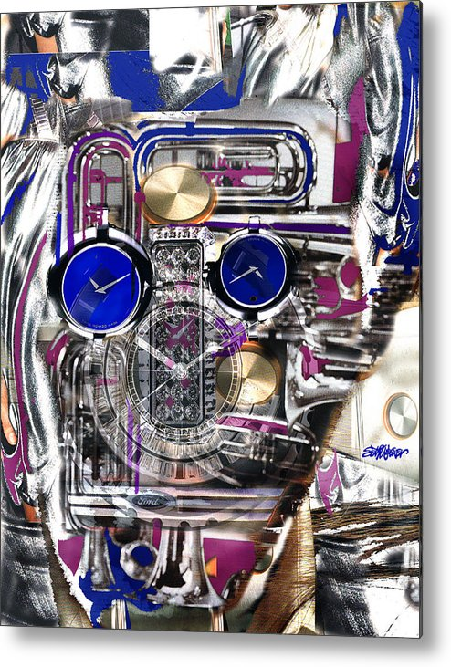 Robotic Time Traveller Metal Print featuring the digital art Old Blue Eyes by Seth Weaver