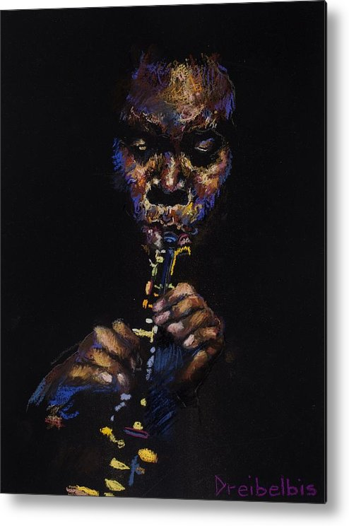 Music Metal Print featuring the painting One With The Music by Ellen Dreibelbis