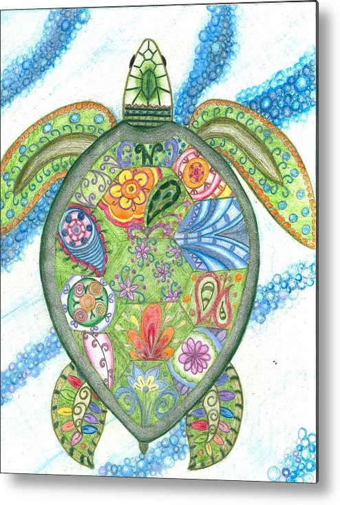 Paisley Sea Turtle Metal Print featuring the drawing Paisley Sea Turtle by Collette Augustine