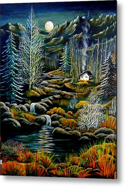 Mountains Metal Print featuring the painting Peaceful Seclusion by Diana Dearen