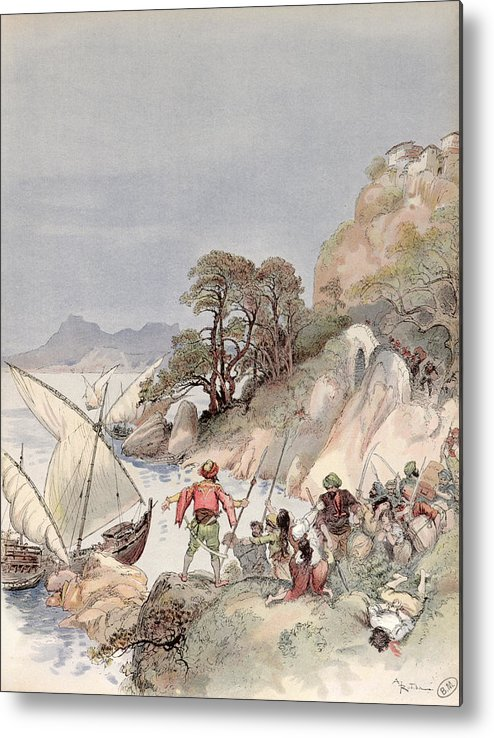 Terrorism Metal Print featuring the painting Pirates From The Barbary Coast Capturin Gslaves On The Mediterranean Coast by Albert Robida