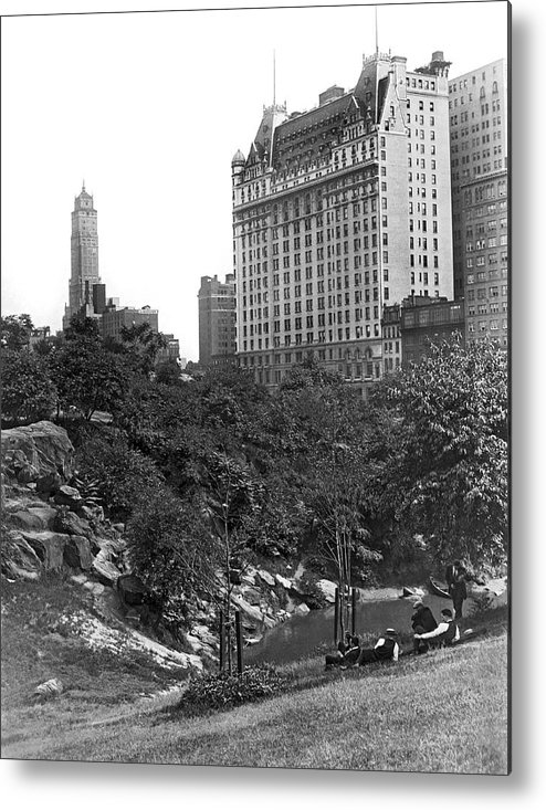 1928 Metal Print featuring the photograph Plaza Hotel From Central Park by Underwood Archives