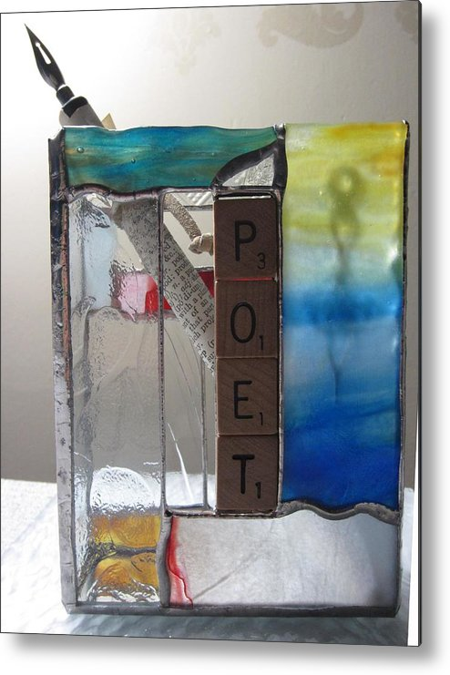 Metal Print featuring the painting Poet Windowsill Box by Karin Thue
