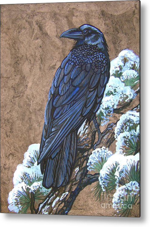 Chabrier Metal Print featuring the painting Raven Chillin by Anne Shoemaker-Magdaleno