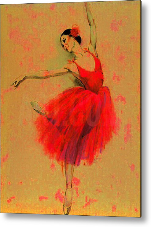 Balet Metal Print featuring the painting Red Dress by Elena Zolevskaya