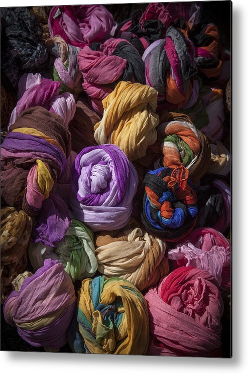 Market Metal Print featuring the photograph Scarves by Graham Moore