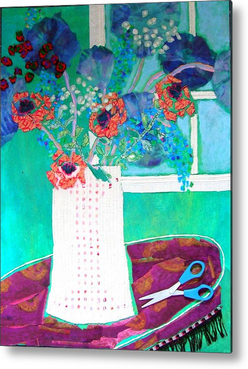 Flowers In A Vase Metal Print featuring the mixed media Scissors by Diane Fine