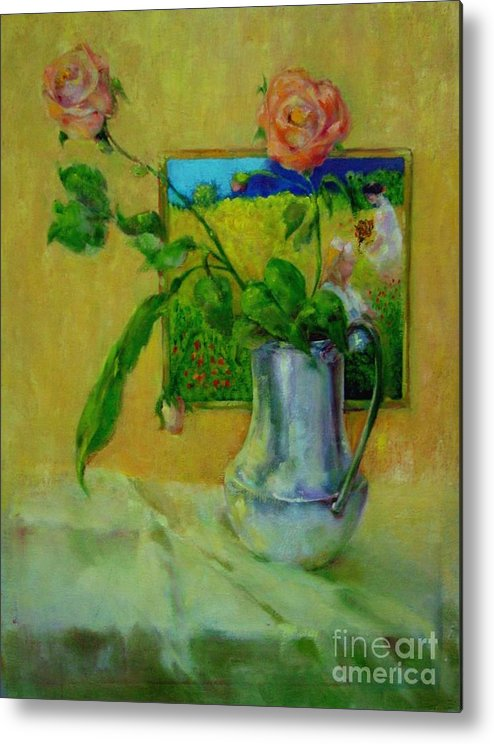 Floral Metal Print featuring the painting Silver And Roses   Copyrighted by Kathleen Hoekstra