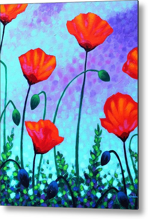 Acrylic Metal Print featuring the painting Sky Poppies by John Nolan