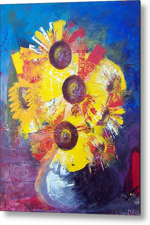 Flowers Metal Print featuring the painting Sunflowers In Blue Vase by Valerie Wolf