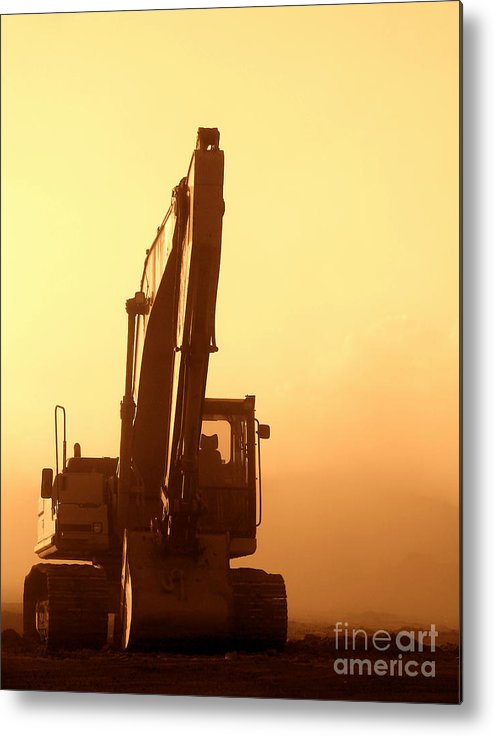 Excavator Metal Print featuring the photograph Sunset Excavator by Olivier Le Queinec