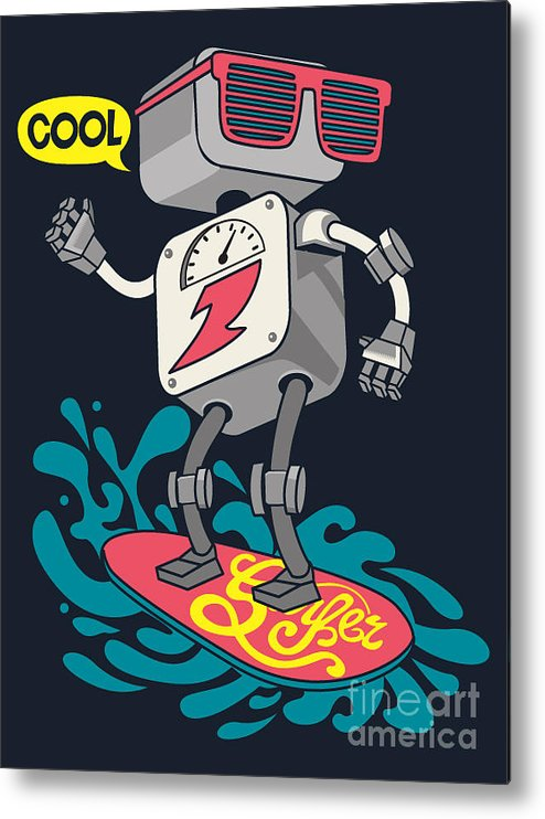 Electronics Metal Print featuring the digital art Surfer Robot Vector Design For Tee by Braingraph