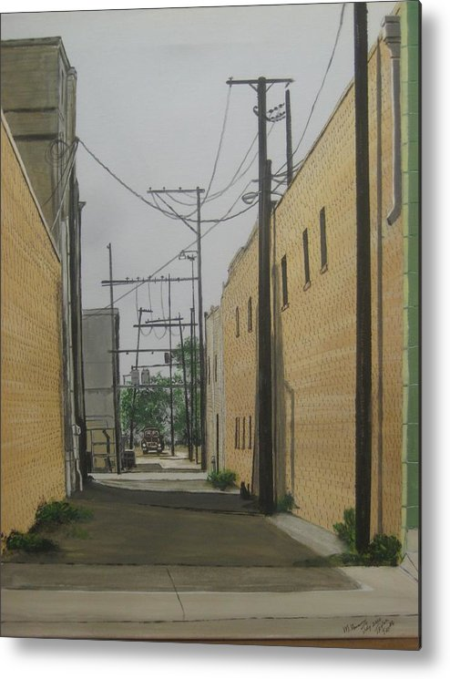 Alley Metal Print featuring the painting Taylor Texas by Miguel Navarro