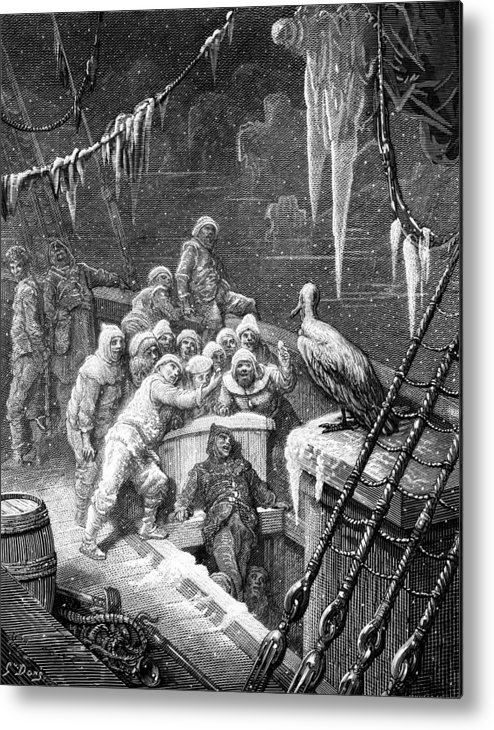 Antartic; Ice; Icebergs; Freezing; Sea; Bird; Dore Metal Print featuring the drawing The Albatross Being Fed By The Sailors On The The Ship Marooned In The Frozen Seas Of Antartica by Gustave Dore