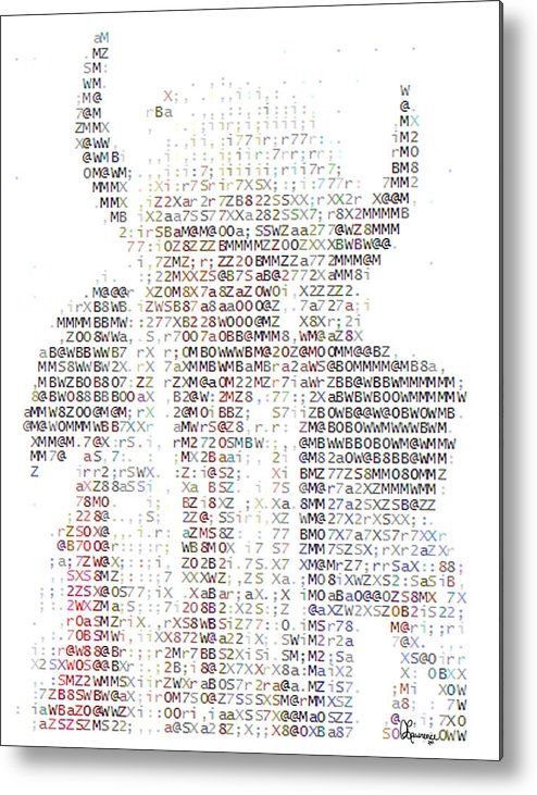 Native American Indian Head Dress Photo In Text Type Font Ascii Buffalo Hat Horns Costume Bison Hunter Chief Aboriginal People First Nation Indigenous Peoples Metal Print featuring the photograph The Chief by Andrea Lawrence