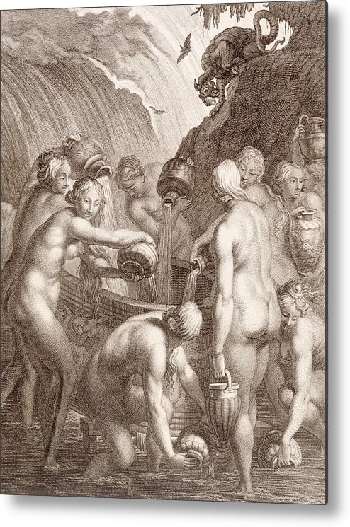 Picart Metal Print featuring the painting The Danaids Condemned To Fill Bored Vessels With Water by Bernard Picart