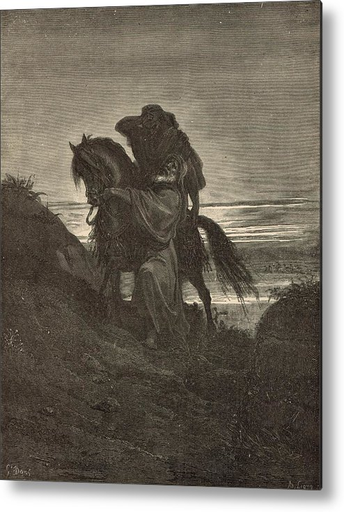 Biblical Metal Print featuring the drawing The Good Samaritan by Antique Engravings