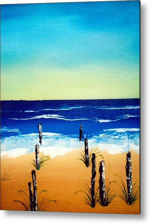 Landscape Metal Print featuring the painting The Picket Beach by Sylviane Nuccio