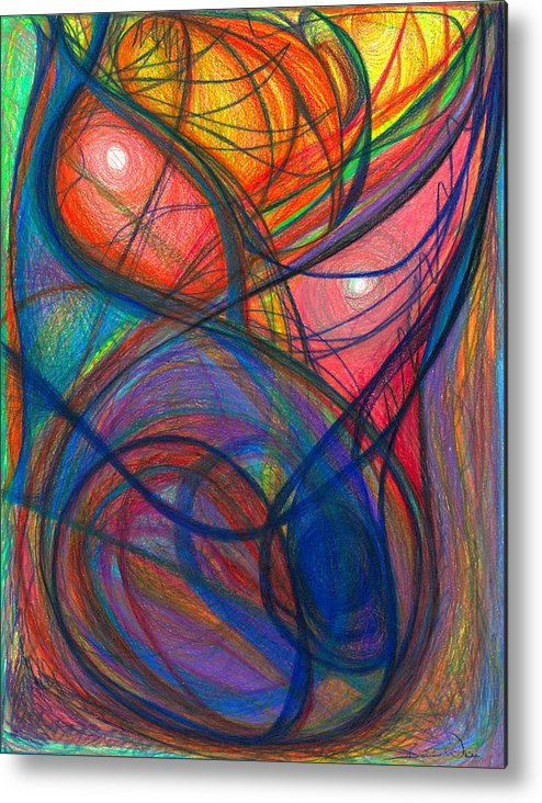 Abstract Metal Print featuring the drawing The Pulse Of The Heart Lies Strong by Daina White