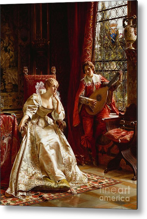 Interior Metal Print featuring the painting The Serenade by Joseph Frederick Charles Soulacroix