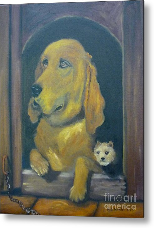 Dog Metal Print featuring the painting Unchained by Beverly Hanni