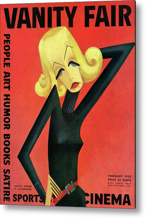 Actress Metal Print featuring the photograph Vanity Fair Cover Featuring Greta Garbo by Miguel Covarrubias