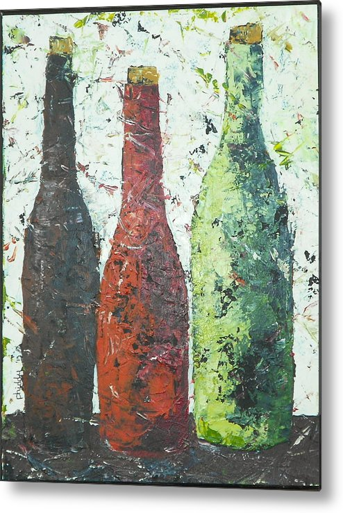 Wine Bottles Metal Print featuring the painting Vino 2 by Phiddy Webb