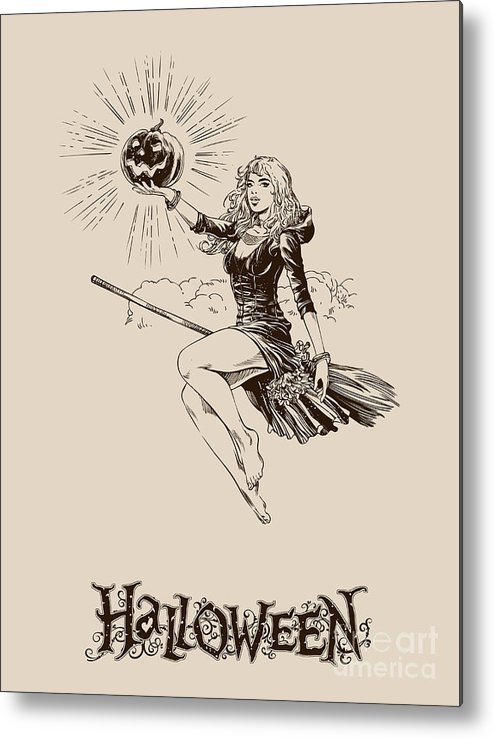 Scalable Metal Print featuring the digital art Vintage Halloween Illustration by Kovaleva ka