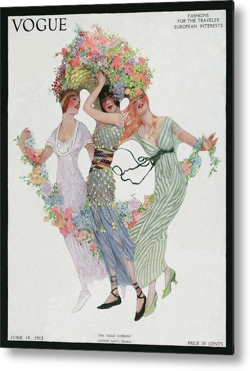 Illustration Metal Print featuring the photograph Vogue Cover Featuring Three Women With Flowers by Sarah Stilwell Weber