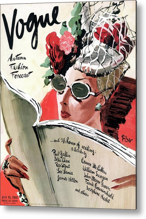 Fashion Metal Print featuring the photograph Vogue Cover Illustration Of A Woman Reading by Rene Bouet-Willaumez