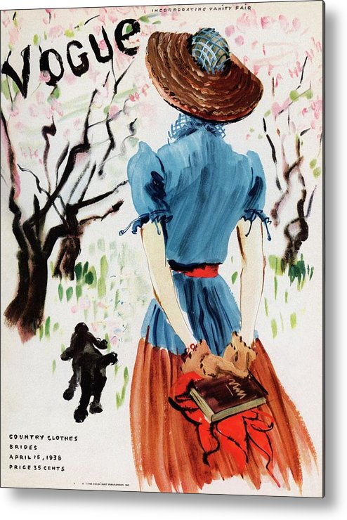 Illustration Metal Print featuring the photograph Vogue Cover Illustration Of A Woman Walking by Rene Bouet-Willaumez