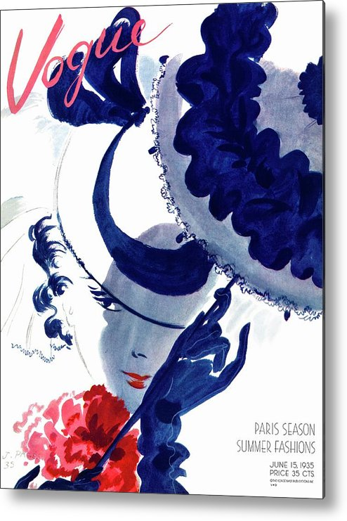 Illustration Metal Print featuring the photograph Vogue Magazine Cover Featuring A Woman Holding by Jean Pages