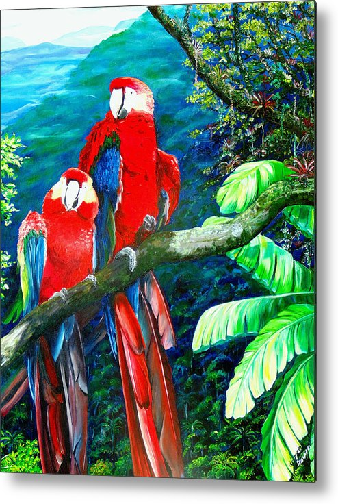 Caribbean Painting Green Wing Macaws Red Mountains Birds Trinidad And Tobago Birds Parrots Macaw Paintings Greeting Card  Metal Print featuring the painting Who Me  by Karin Dawn Kelshall- Best