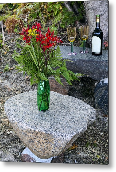 Red Metal Print featuring the photograph Wine And Red Flowers On The Rocks by Les Palenik