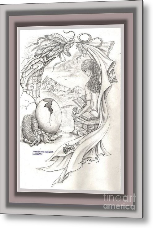 Sketch Metal Print featuring the drawing Wisdom In The Valley by Rosie R Carrillo