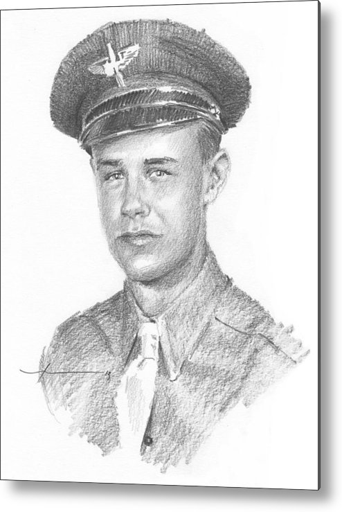 Www.miketheuer.com Wwii Military Dad Pencil Portrait Metal Print featuring the drawing Wwii Military Dad Pencil Portrait by Mike Theuer