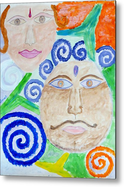 Expresion Metal Print featuring the painting Faces by Sonali Gangane