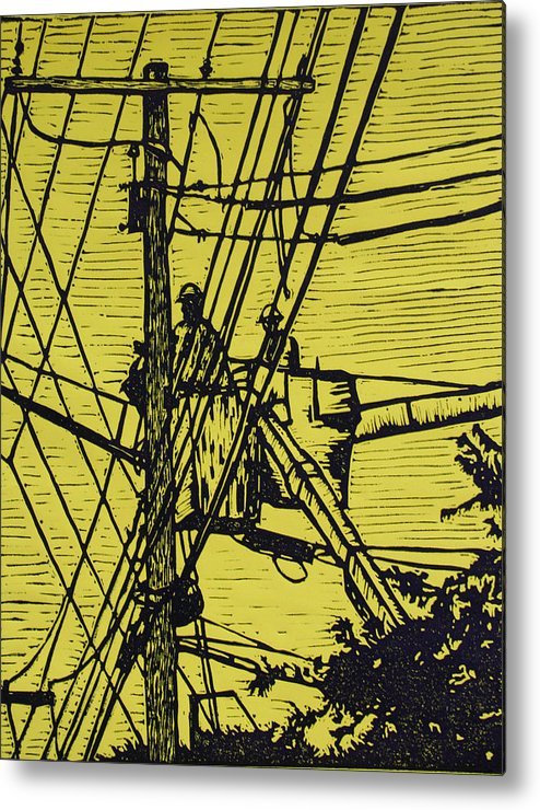 Powerlines Metal Print featuring the drawing Working On Lines by William Cauthern