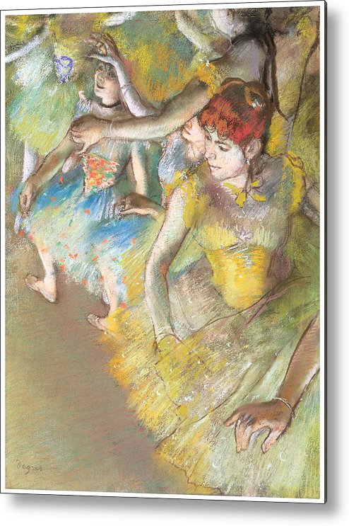 Ballet Dancers On The Stage Metal Print featuring the pastel Ballet Dancers On The Stage by Edgar Degas