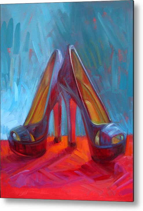 Shoe Paintings Paintings Metal Print featuring the painting Ever Eloquent by Penelope Moore