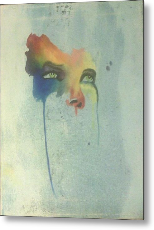 Oil Metal Print featuring the painting Faces by Lora Marsh