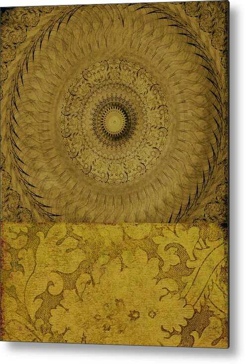 Abstract Art Metal Print featuring the mixed media Gold Wheel I by Ricki Mountain