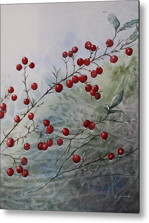 Wintry Metal Print featuring the painting Iced Holly by Patsy Sharpe
