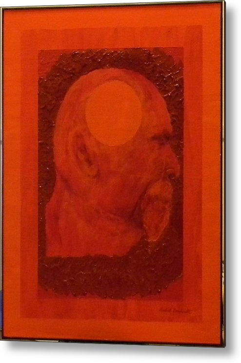 Self Portrait Metal Print featuring the painting Inner Space Or The Dot Within by Gilbert Bernhardt