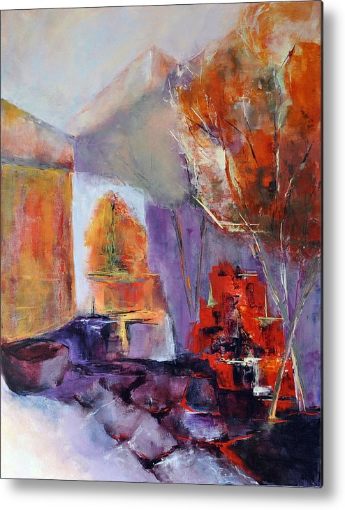 Abstract Metal Print featuring the painting Intimiste by Francoise Dugourd-Caput
