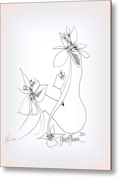 La Fleur De La Femme Metal Print featuring the drawing La Fleur De La Femme by Mademoiselle Francais