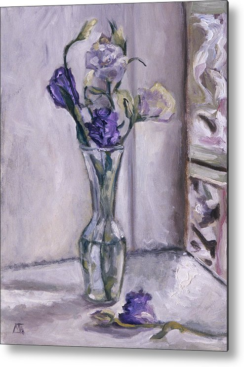 Lavender Metal Print featuring the painting Lavender Flowers In A Glass Vase With Glass Block Window by Mary Gingrich